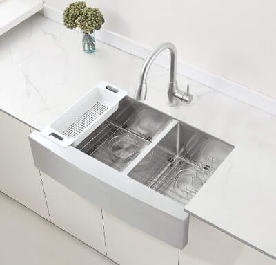 ZUHNE Turin33 Double Bowl Stainless Steel Farmhouse Kitchen Sink
