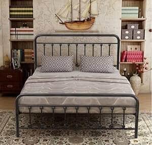 Elegant Home Products Victorian Vintage Style Platform metal bed frame