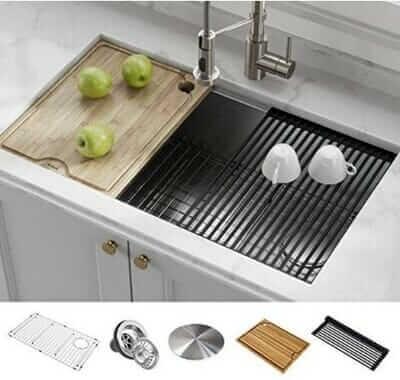 KRAUS KWU110-32 Kore Workstation Stainless Steel Kitchen Sink