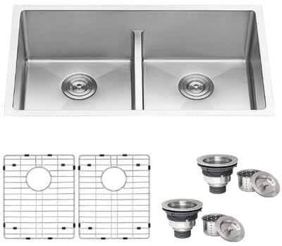 Ruvati RVH7411 Gravena series Low-Divide Double Bowl Stainless Steel Kitchen Sink