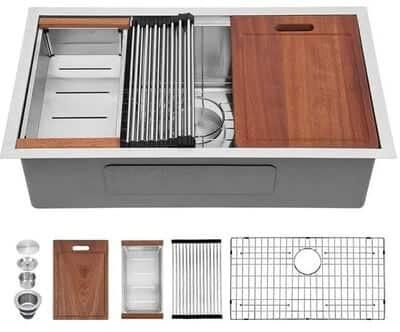 Sarlai 32 Inch Undermount Sink Ledge Workstation