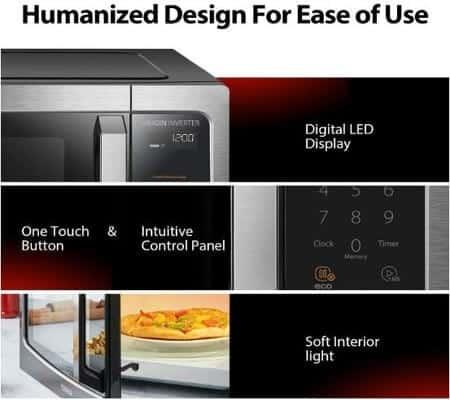 toshiba smart sensor led light 1.6 cft microwave oven ML-EM45PIT-SS